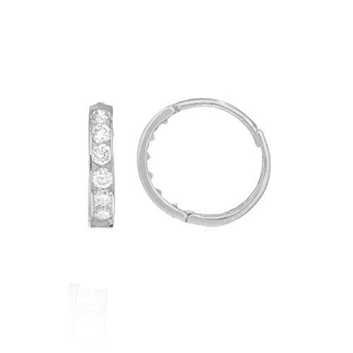 White Circular Earring - Ritastephens 14K Solid White Gold Small Huggie Hoop 2x11 Mm Cubic Zirconia Channel-set Earrings