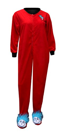 MJC Women's Dr Seuss Thing One And Two Onesie Footie Pajama Size Large (Large)