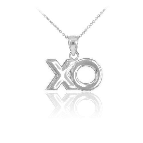 """10 ct 471/1000 Or Blanc """"XO"""" Etreintee Pendentif Collier"""