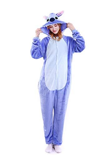 Cartoon Sleepsuit Halloween Costume Cosplay Unisex Adult Onesie Pajamas, Birthday Christmas Gift for Teens(Blue,Large)