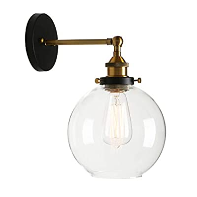 Permo Clear Glass Globe Wall Sconce Vintage Industrial 1-Light Rustic Wall Mount Light