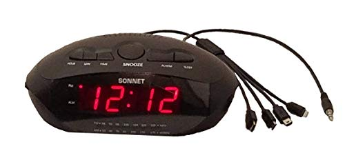 Sonnet R-1688 LED Clock Radio with 2 USB Port & 4 Prong Charging Cable