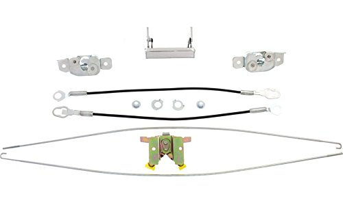 Tailgate Lock for Ford F-Series 87-96 Set (2Rod 2Cable 2Latch 1Hinge) With Chrome Handle -
