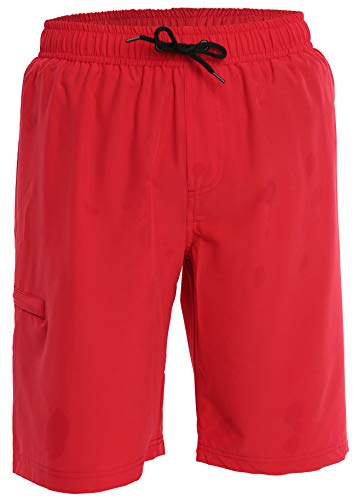 Men's Boardshorts - L - Red - Perfect Swimsuit, Swim Trunks, Board Shorts, Workout or Athletic Shorts for The Beach, Lifting, Running, Surfing, Pool, Gym. for Adults, Men's Boys
