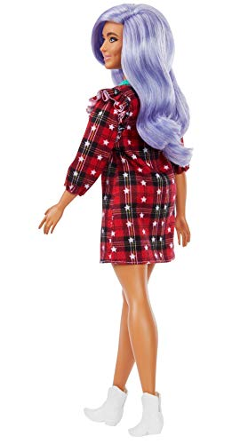 Barbie Fashionistas Doll #157, Curvy with Lavender Hair Wearing Red Plaid Dress, White Cowboy Boots & Teal Cross-Body Cactus Bag, Toy for Kids 3 to 8 Years Old​