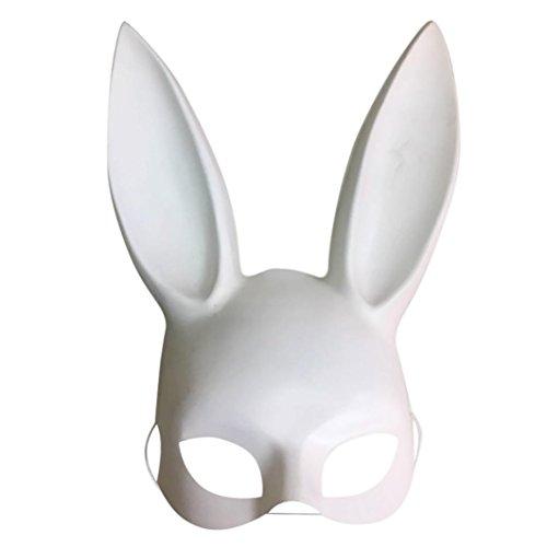 NEWONESUN Easter Masks, Matte Party Rabbit Ears Mask Half Face Nightclub Bar Masquerade (White) -
