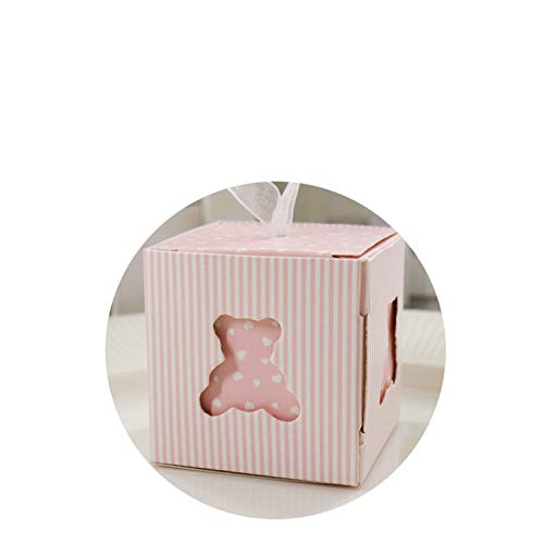 5 * 5 * 5Cm Shower Cut Pink/Blue Cute Bear Candy Box Kids Party Birthday Wedding Festival Favor Gift Supplies Pink -