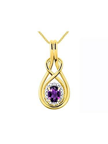 RYLOS Simply Elegant Beautiful Amethyst & Diamond Pendant Necklace - February Birthstone