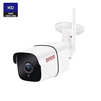 Tonton 1080P Full HD WiFi IP Security Bullet Camera Outdoor, Two-Way Audio, Weatherproof and Motion Detection, Clear Night Vision and Aluminium Housing, Support Max 128GB SD Card from Tonton security