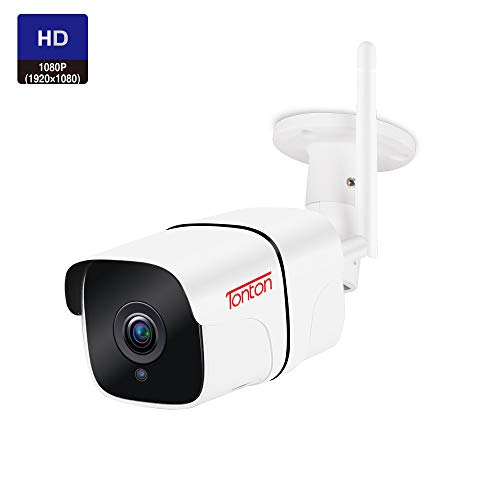 Tonton 1080P Full HD WiFi IP Security Bullet Camera Outdoor, Two-Way Audio, Weatherproof and Motion Detection, Clear Night Vision and Aluminium Housing, Support Max 128GB SD Card