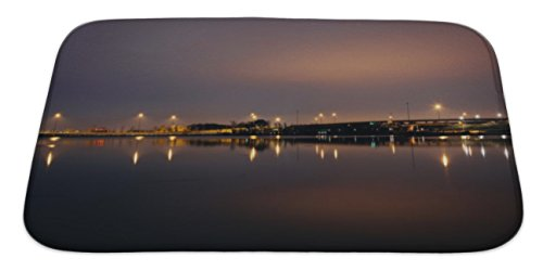 Gear New Bath Rug Mat No Slip Skid Microfiber Soft Plush Absorbent Memory Foam, Lights Reflecting In The Potomac River At Night Seen From Natio, - Maryland Harbor In The National