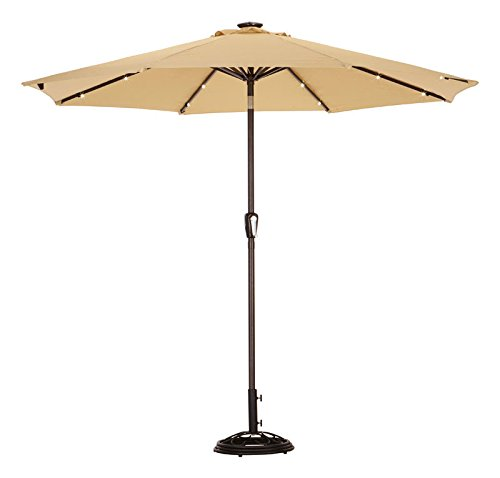 Solar Umbrella 9' Taupe by LIVING ACCENTS