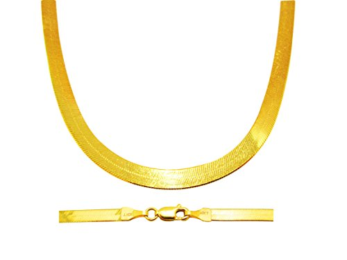 US-Shopsmart 10K Yellow Gold Herringbone Chain Necklace 16-24 inch, 4mm (16 Inches)