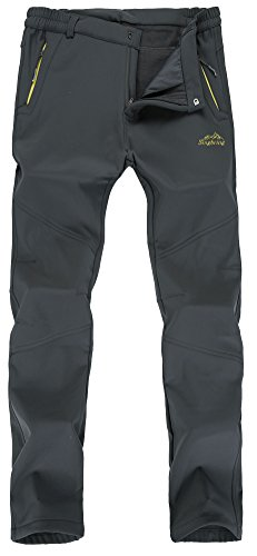 Singbring Men's Outdoor Waterproof Hiking Pants Windproof Ski Pants Large Gray(026F) (Hiking Clothing)