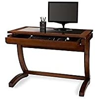 Realspace Coastal Ridge Writing Desk, Mahogany/Black Glass