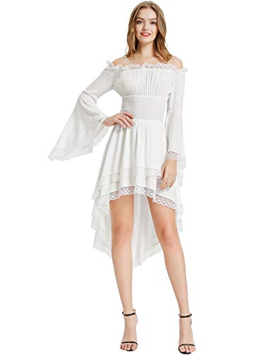 KANCY KOLE Women's Retro Medieval Renaissance Dress Off Shoulder Long Sleeve Victorian Dress Costume (White,XL)