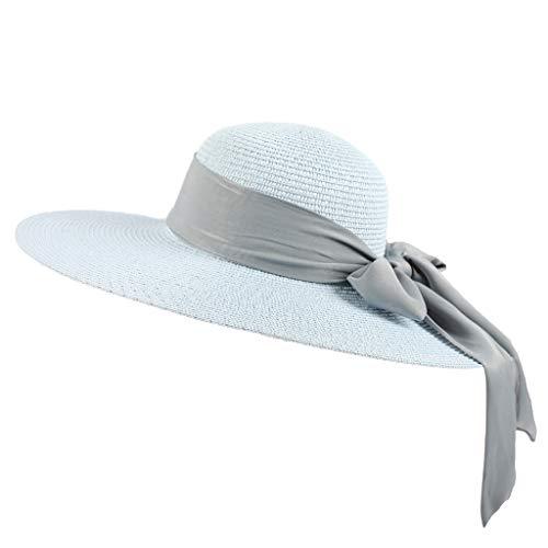 Wool Powder Blue (DDKK Ladies Lightweight Floppy Foldable Packable Straw Hat Summer Sun Beach Decorative Bow Wide Brim Hat UPF 50+ (Sky Blue))