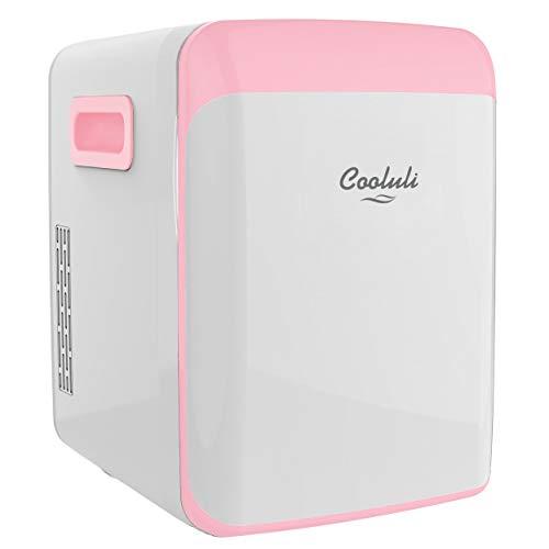 Cooluli Classic Pink 15 Liter Compact Portable Cooler Warmer Mini Fridge for Bedroom, Office, Dorm, Car - Great for Skincare & Cosmetics (110-240V/12V)