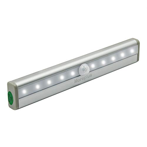 Moreplus Motion Sensor Lights, 10 LED Battery Operated Portable Wireless Motion Nightlight Stick-on with Magnetic Strip for Cabinet Night Stairway Closet Light Bar