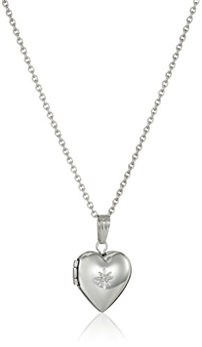 Childs Diamond Heart Locket (Sterling Silver Children's Diamond Heart Locket Necklace, 15