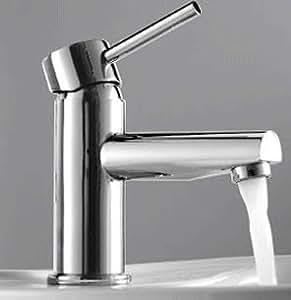 Moderno grifo grifo grifo monomando para baño con boca larga y redonda, cromado