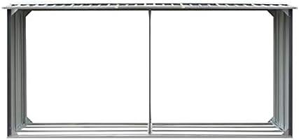 Casetilla para leña Acero galvanizado Gris 330x92x153 cmCasa y ...