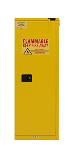 "Durham 1022S-50 Flammable Safety Cabinet, 1 Self Closing Door, 22 gal, 23"" x 18"" x 66-3/8"", Yellow"