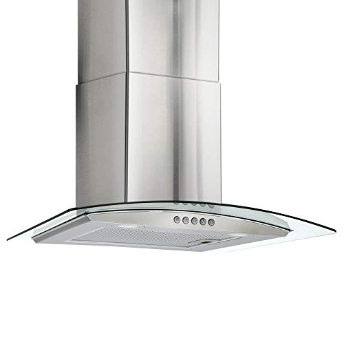 RV Curved Glass Range Hood | Vent Hood RV Kitchen | 24″ Stainless Steel | Curved Tempered Glass Hood | 110V Electric Switch | 3 Speed Motor