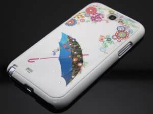Big Dragonfly High Quality Slim Ultra-light Bling Diamond Rhinestone Flora and Umbrella Protective Shell Case Hard Below Cover for Samsung Galaxy Note 2 Ii N7100 Retail Package White Frame