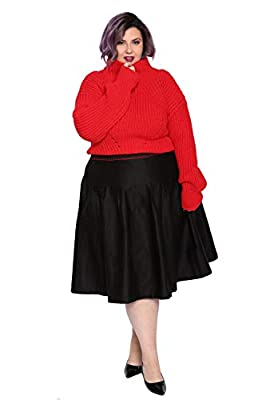 Astrasignature Women's Plus Size Basic Versatile High Waist Flared Street Skater Pleated Mini Skirt