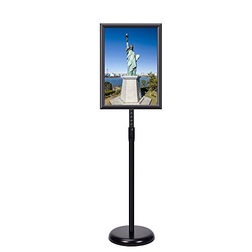 Smonet Adjustable Pedestal Sign Holder Floor Stand with Telescoping Post, Poster Frame for 11 X 17 Inches Graphics, Top-loading Vertical Design-Black Metal