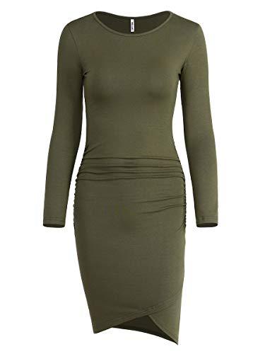 Cotton Sundress Dress - Women's Casual Long Sleeve Ruched Bodycon Sundress Irregular Sheath T Shirt Dress (Long Sleeve Army Green, Medium)