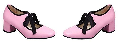 Unie Pu Femme Couleur Correct Légeres Rose Lacet Cuir Aalardom Chaussures À Talon dwIAq5w1x