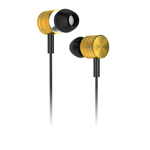 SoSoon Gold-plated 3.5mm In-Ear Stereo Headset with Microphone,Precision Bass Earbuds for Apple iPhone 6 / 6 Plus / 5 / 5S ,Samsung Galaxy S6 Android Smartphone - Gold