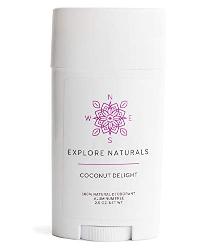 Explore Naturals Aluminum-Free, Natural, High-Performance Deodorant for Men and Women - Multiple Scents Available, 2.5oz, Made in the USA (Coconut Delight)