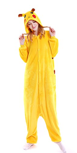 Dingwangyang Uinisex Adult Pajamas Onesie Kigurumi Cosplay Costumes Animal Jumpsuit Pikachu-XL