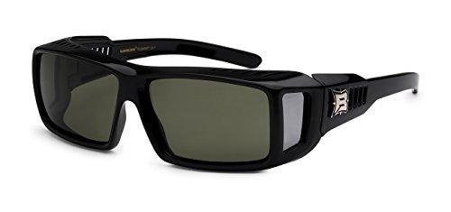 Men Women Barricade Polarized Driving Travel Sport Fit Cover Over Glasses Sunglasses (Rectangle Green)