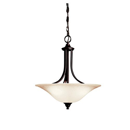 Tannery Bronze 3-Bulb Indoor Pendant with Bowl-Shaped Glass Shade (Transitional Bronze Bowl Pendant)