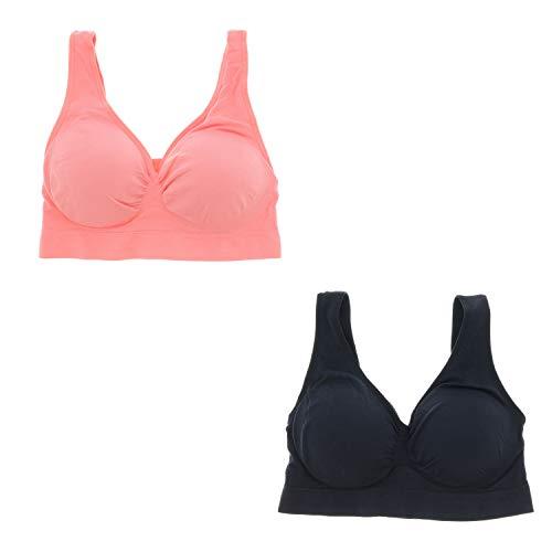 - Delta Burke Intimates Women's Queen Size Seamless Comfort Bra Set (2 Pcs) (3X, Black, Coral)