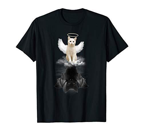 Funny Cat Tee shirt, Kitten Angel Cat and Devil Cat T-shirt