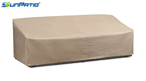 SunPatio Outdoor Oversized Sofa Cover, Lightweight, Water Resistant, Eco-Friendly, Helpful Air Vents, All Weather Protection, Beige, 93.5'L x 45'W x 39'H