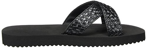 flop flip Femme Ouvert Bout Metallic Noir Cross Braid Black 0000 HTYrdT