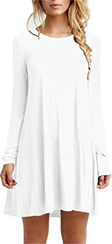 TINYHI Simple Plain Long Flowy Sleeve Flowy Dress(White,Medium)