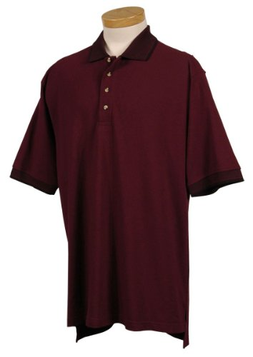 Tri Mountain Mens Cotton Pique Golf Shirt With Jacquard Trim  196   Dark Maroon   Black Xlt