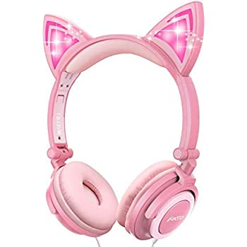 519a911c945 Cat Ear Headphones, Ifecco Kid Headphones Foldable Wired Headphones On-Ear  Headsets Support 3.5
