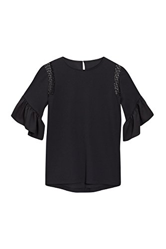 next Mujer Blusa Camiseta Top Cuello Redondo Manga 3/4 Acampanada Negro