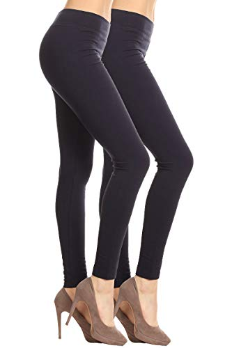 2ND DATE Women's Basic Cotton Stretch Leggings with Comfort Waistband-2pack-BK.BK-XL ()
