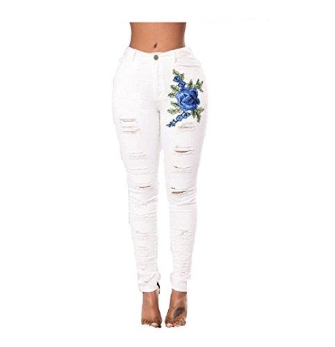 et Jeans Skinny des Oudan avec des Broderie Jeans Jeans Blanc Trous Jeans Jeans de Jeans Zip Skinny Fleurs A17fwxR7q