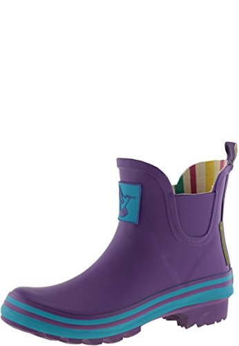 Evercreatures Ladies Rubber Wellies Purple With Turquoise Edging - Various Sizes