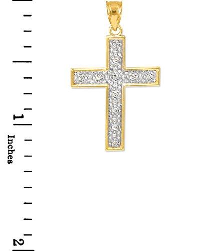 10 ct 471/1000 Or Diamant-Croix Petitr Pendentif